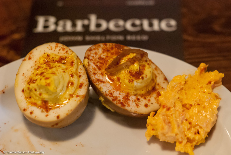 Pickled deviled eggs and pimento cheese dip