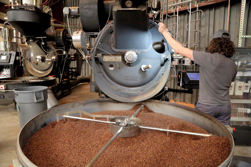 Roasting cofee at Counter Culture Coffee